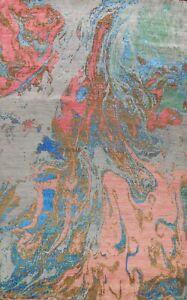 Contemporary Wool/ Silk Abstract Oriental Area Rug Modern Handmade 9x12 Carpet