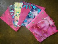 Batik Fat Quarter Pink | Precut Cotton Fabric | Face Mask Quilting | Set of 7