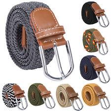 hommes extensible tressé élastique tissé toile ceinture boucle taille lanières