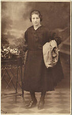 Studio Portrait of Young Italian Woman in Black (1910's?) RPPC