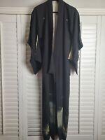 Vintage Kimono Traditonal Japanese Jacket Robe Geisha White Black Lined Fans