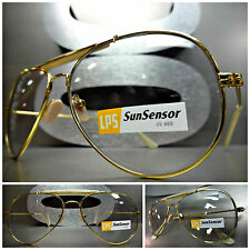 CLASSIC VINTAGE Style SUN GLASSES Gold Frame Transition Lens Darkens in Sunlight