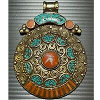 Antique old Silver brass Original coral unique turquoise Lovely Pendant