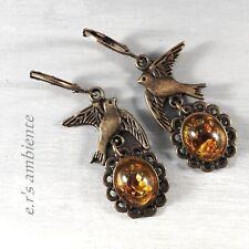 Ohrringe mit BERNSTEIN-IMITATION-Cabochons, Bronze-Vintage-Look, 0521