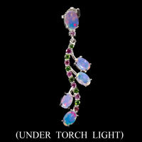 Unheated Oval Fire Opal Chrome Diopside Rhodolite 925 Sterling Silver Pendant