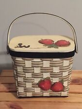 Vintage Wooden Bucket Box Purse W/ Handle Apples & Worm Black Off White Red