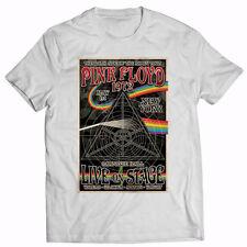 Pink Floyd. 1972 Tour. New York. Retro. Vintage Mens Cotton  White T-shirt