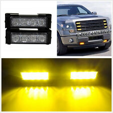 2 Pcs DC12V Amber LED Car SUV Front Grille Flashing Strobe Light Emergency Lamps