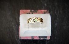 Puzzle-Ring Gold 585-/  Weiß-Gelbgold, Rubin, Safir, Smaragd, Größe 56(17,7)mm