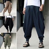 Men Fashion Japanese Style Cotton Harem Baggy Loose Long Pants Wide Leg Trousers