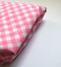 "Vintage Pink Springmaid Gingham Fitted Sheet Double Size No Iron 54"" x 76"" USA"