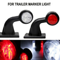 "2X LED SIDE RUBBER ELBOW MARKER LIGHT LAMP OUTLINE TRAILER LORRY 7.9"" 12/24V New"