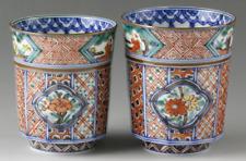 Yunomi Kyo Kiyomizu yaki porcelain Japanese tea cup set Aka-e Komon pattern