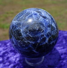 Gem BLUE SODALITE Crystal Sphere Ball Healing DEEP COLOR Shimmery BRAZIL Beauty