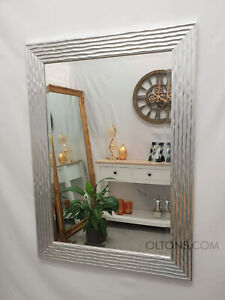 John Lewis Delphine Wave Design Wall Mirror Silver Wood Frame Bevelled 79x110cm