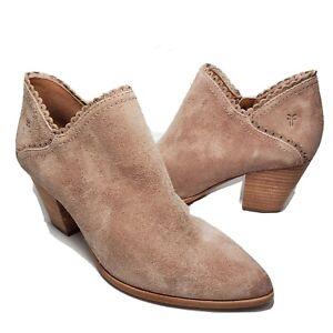Frye women ankle boots Reed Scallop Shootie Pale Blush suede side zipper sz 8.5