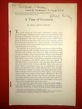 Article A Time Of Greatness By Bell Irwin Wiley Signed & Personal Note Civil War