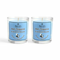 Pack of 2 Price's Cigarette Tobacco Smoke Scented Odour Smells Jar Candle
