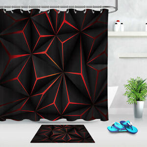 Waterproof Fabric Shower Curtain Set Red and Black Geometric Patterns Texture