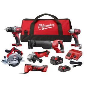 Milwaukee Cordless Combo Kit 18-Volt 2-Batteries Charger Tool Bag (6-Tool)