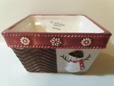 """St. Nicholas """"Warm Wishes"""" Holiday Christmas Candy Snack Bowl Snowman Snowflakes"""