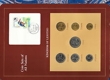 Coin Sets of All Nations Lesotho w/card 1979-1983 Unc 25,5,2 Lisente, 1 Loti 79