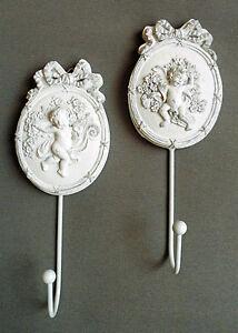 Wandhhaken ENGEL 2er-Set weiß im barocken Stil aus Metall und Resin