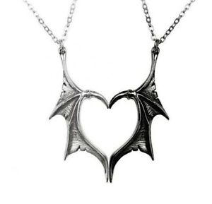 2 Couple Dragon Heart Necklace Lovers Distance Pendant Charm - FREE Gift Bag UK