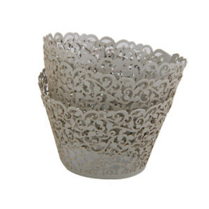 50x Vine Lace Laser Cut Cupcake Wrapper Wedding Favor Cake Decor Silver Grey