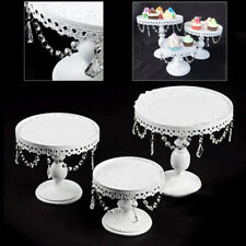 3Pcs Wedding Party Cake Stand Home Decor Metal Cupcake Holder w/ Crystal Plates