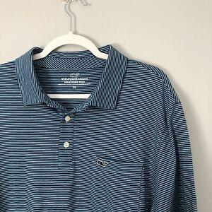 Vineyard Vines Edgartown Blue Striped Performance Polo Shirt Size Men's XL