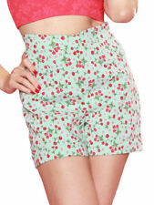 Polyester High Waist Hand-wash Only Floral Shorts for Women