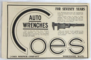 Vintage 1909 COES Auto Mechanics Wrench Tool Print Ad
