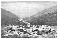 Walfang auf den Faröer Inseln , Grindelwal, Original-Holzstich von ca. 1890