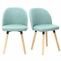 Magshion Fabric Upholstered Dinning Living room Chairs Guest Chairs Set of 2 GRN