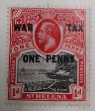 1916 St Helena 1d+1d Black and Scarlet Stamp