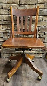 Antique H.B. & W. Co. Mission Oak Wood Rolling Banker Office Chair | Antique