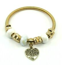 BRAND NEW COMFORT FIT STRETCH BRACELET WITH 8 CHARMS HEART FAMILY TREE THEME
