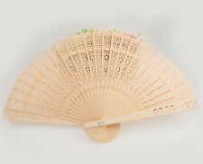 Vintage Folding Bamboo Original Wooden Carved Hand Fan fit Wedding Bridal Party
