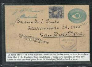 GUATEMALA COVER (P1809B) 1894 5C HORN PSE+5C WIDE NUMER TAXED COVER TO USA