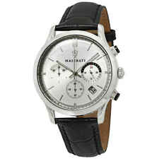 Maserati Ricordo Silver Dial Black Leather Men's Watch R8871633001