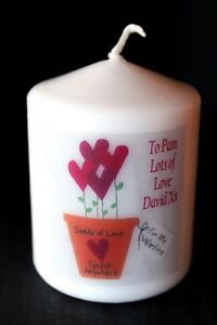 Flowers Valentine gift Mini candle personalised Loved One Unique #1