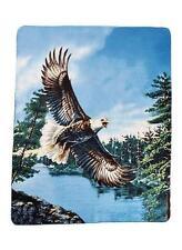 """Eagle over lake Bird Animal Fleece Throw Wildlife Bed Blanket 60"""" X 50"""" New"""