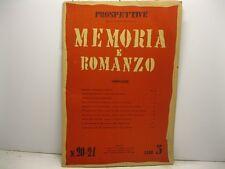 AA. VV., Prospettive. Direttore Curzio Malaparte. Memoria e romanzo. N. 20-21...