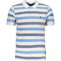 Penguin- White & Blue Striped Slim Fit Polo Shirt-Men's Heritage Slim Fit-S