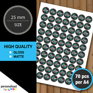 25mm Round Logo Stickers Personalised Business Labels Print Custom Text Image