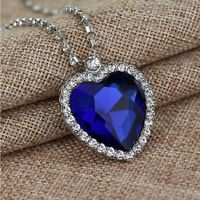 Titanic Silver Heart Of The Ocean Sapphire Blue Crystal Necklace Pendant Jewelry