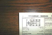 1973 Cadillac & Eldorado EIGHT Series Models 472 & 500 CI V8 SUN Tune Up Chart