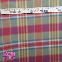 Home Decor Multi Color Plaid Red Blue Heavy Upholstery Fabric by the Yard
