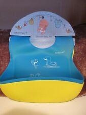 "Silicone Baby Bib Waterproof 2 pc Yellow & Blue Soft Safe Adjustable 9"" Pocket"